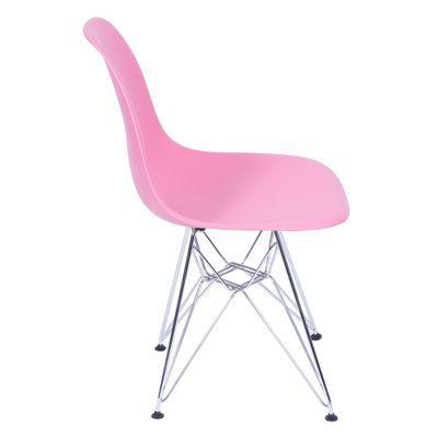 Cadeira Eames Eiffel Rosa com Pés Cromados