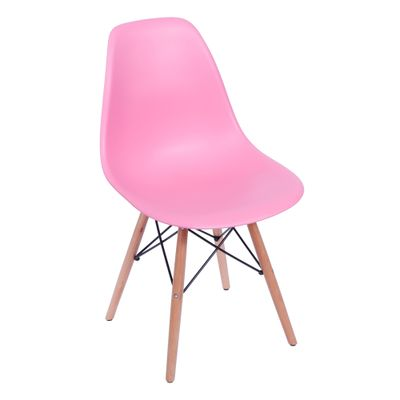 Cadeira Eames Eiffel Rosa com Pés de Madeira