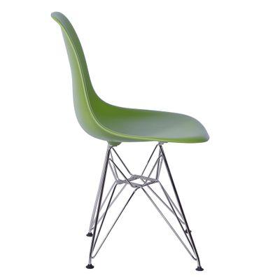 Cadeira Eames Eiffel Verde com Pés Cromados