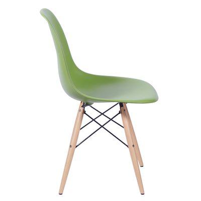 Cadeira Eames Eiffel Verde com Pés de Madeira