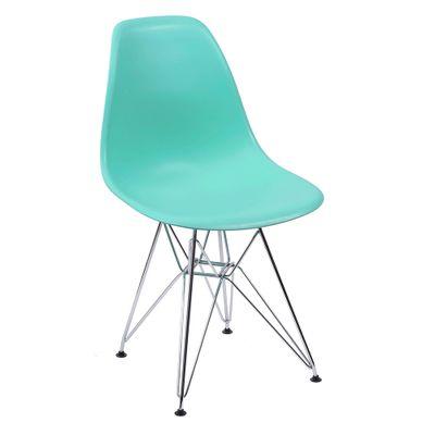 Cadeira Eames Eiffel Verde Tiffany com Pés Cromados