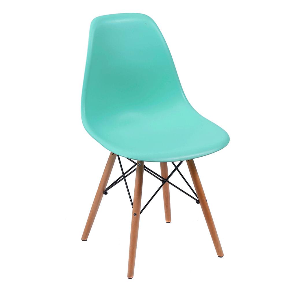 Cadeira Eames Eiffel Verde Tiffany com Pés de Madeira