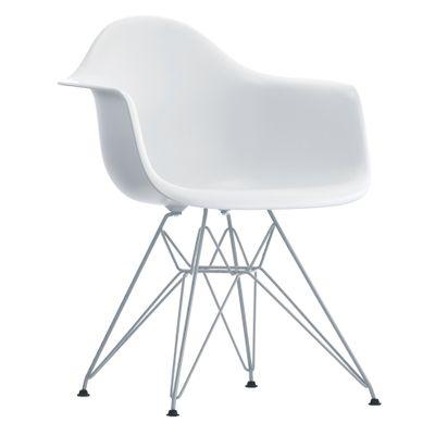Cadeira Eiffel Com Braço Branca Base Cromada