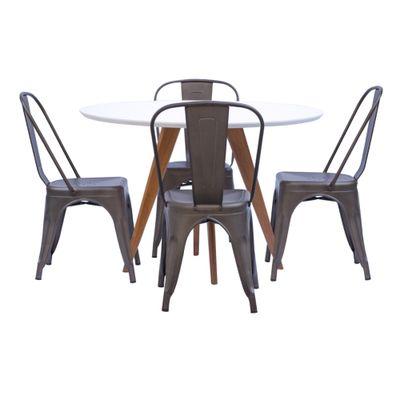 Mesa-de-Jantar-Square-Redonda-Branco-Fosco-90cm---4-Cadeiras-Tolix-Ferrugem-Vintage