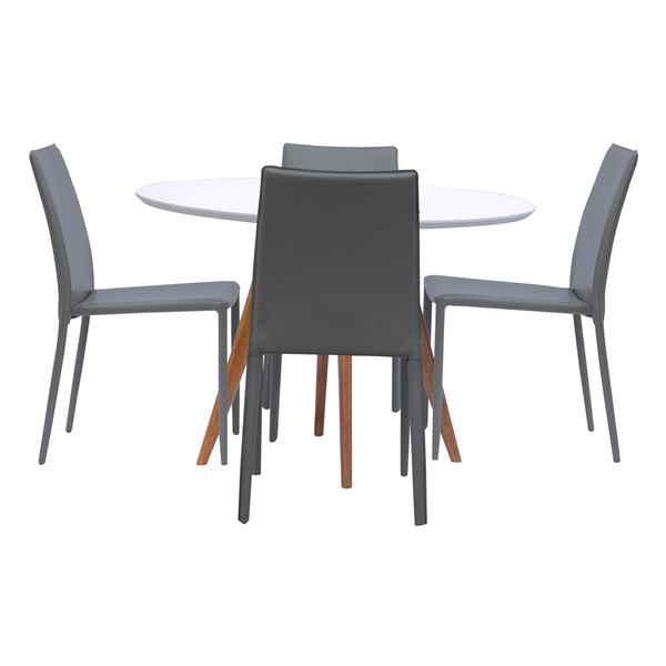 Conjunto Mesa Square Redonda Branco Fosco 88cm com 4 Cadeiras Noga Cinza