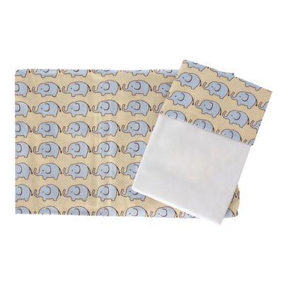 Conjunto-Lencol-com-Fronha-para-Mini-Cama-Elefante-Amarelo