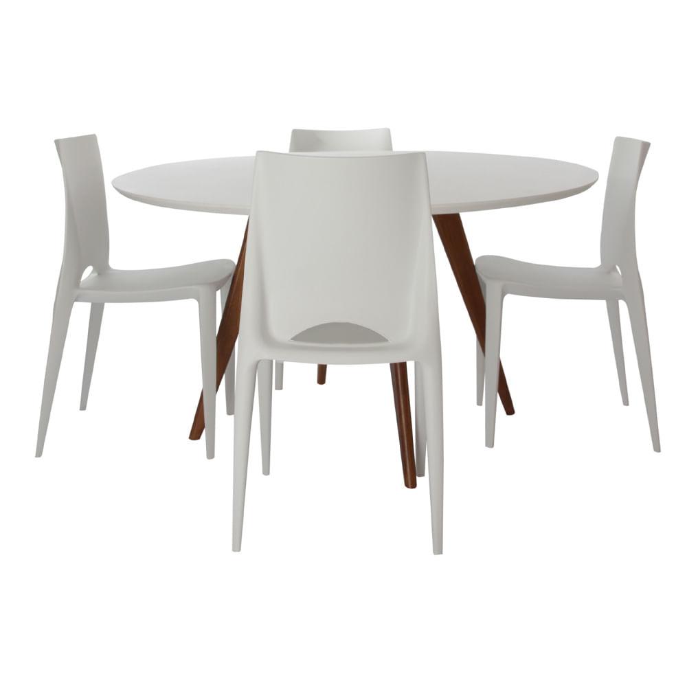 Conjunto Mesa Square Redonda Branco Fosco 88cm com 4 Cadeiras Zoé Branca