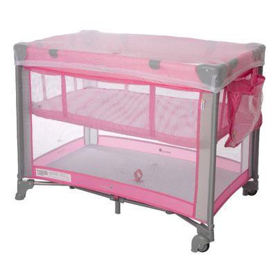 Berco-Cercado-Mini-Play-Pop-Pink-Com-Bolso-Lateral-e-Mosquiteiro--74x60x98cm-