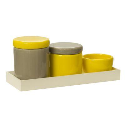 Kit-Ceramica-Pote-G-Caqui-Pote-P-Amarelo--Molhadeira-Amarelo-e-Bandeja-pp