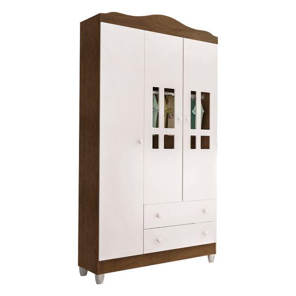 Armario-3-portas-com-2-gavetas-Ariel-Branco-Brilho-com-amadeirado