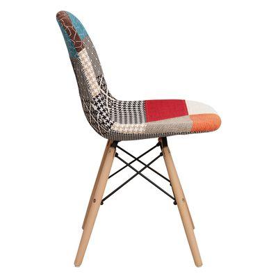 Cadeira Eiffel Toda em Patchwork Sem Braço - Or 1102b Mix base madeira