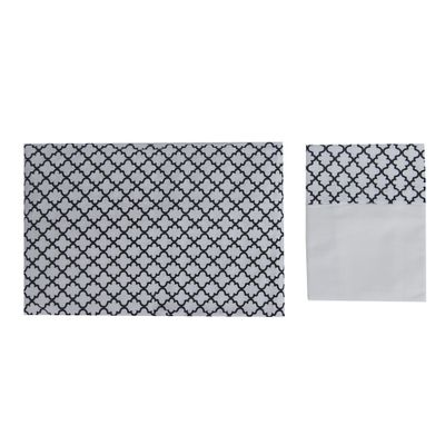 Conjunto de Lençol de Mini Cama Arabesco Preto e Branco 760034
