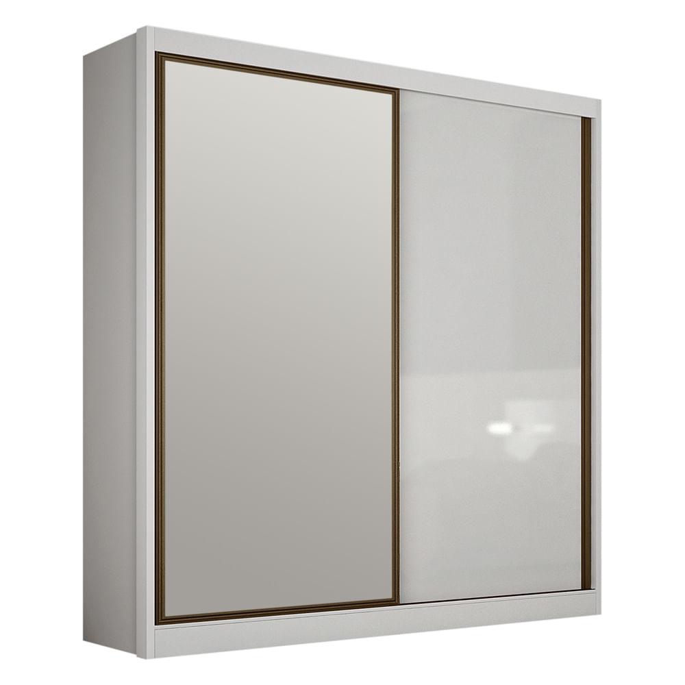 Guarda Roupa Genova 1 portas deslizante e 1 porta deslizante com espelho