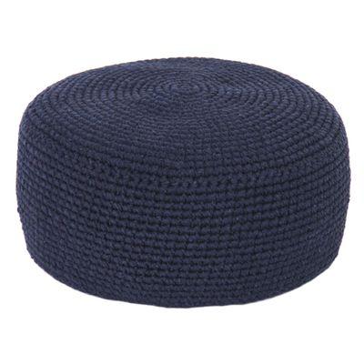 Puff de Chão Crochê Azul Marinho