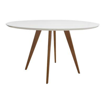 Conjunto Mesa Square Redonda Branco Fosco 88cm com 4 Cadeiras Allegra Branca