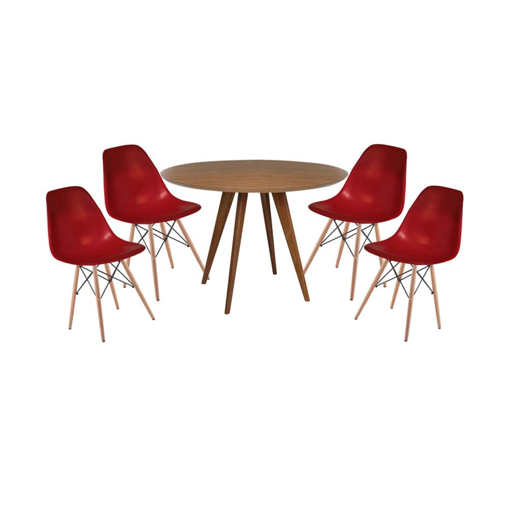 Conjunto-Mesa-Square-Redonda-Louro-Freijo--88cm-com-4-Cadeiras-Eiffel-Bordo-base-Madeira