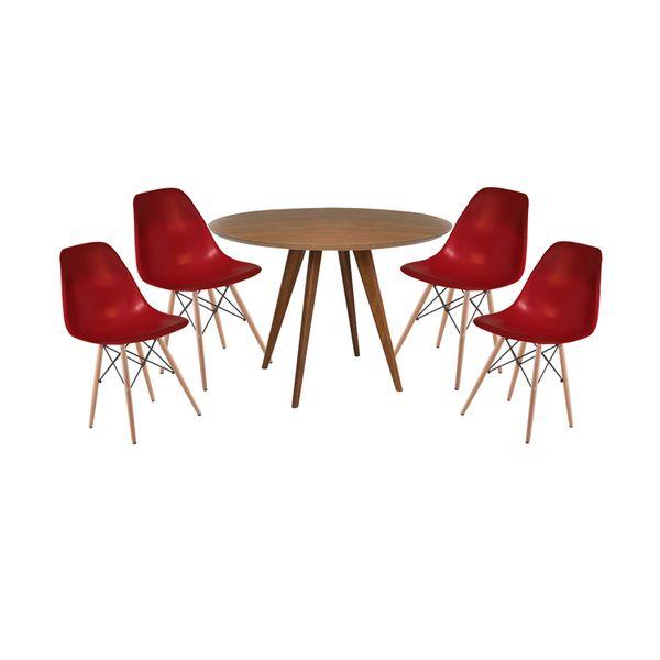Conjunto Mesa Square Redonda Louro Freijó  80cm com 4 Cadeiras Eiffel Bordô