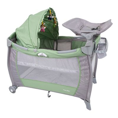 Berço Cercado Sólis Verde Super Luxo Prime Baby Com Trocador e Capota(112x82x120