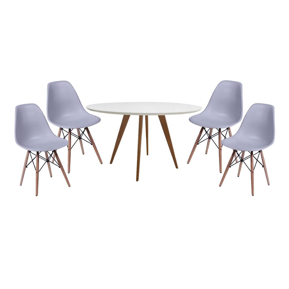 Conjunto Mesa Square Redonda Branco Fosco 88cm com 4 Cadeiras Eiffel Cinza