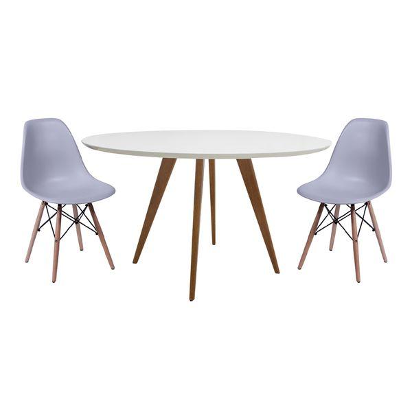 Mesa de Jantar Square Redonda Branco Fosco 80cm com 2 Cadeiras Eiffel Cinza