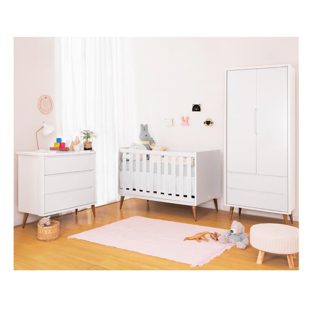Quarto Infantil Theo Branco Com Guarda Roupa 2 Portas