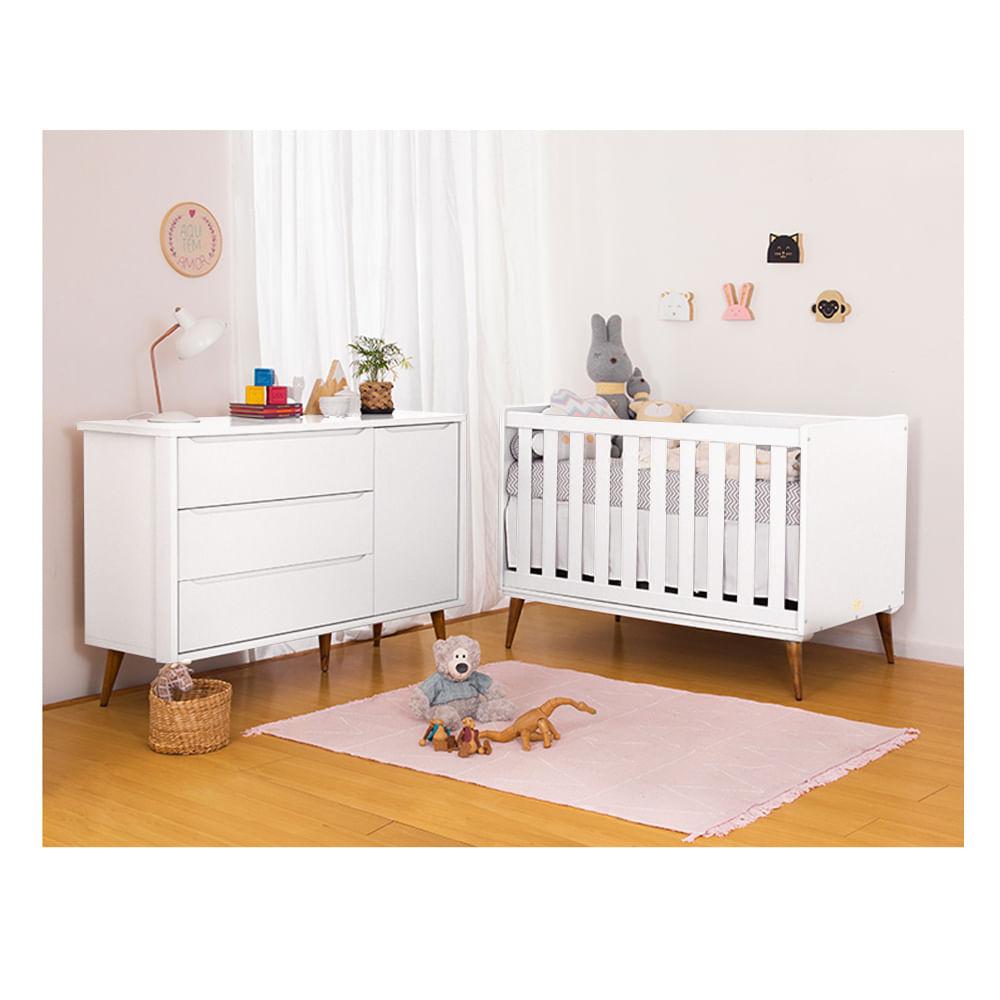 Quarto Infantil Theo Branco e Cômoda Com Porta