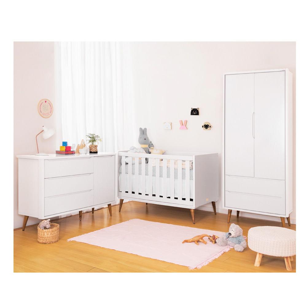 Quarto Infantil Theo Branco Com Guarda Roupa 2 Portas e Cômoda Com Porta