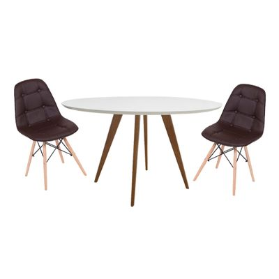 Conjunto-Mesa-Square-Redonda-Tampo-Branco-Fosco-80-com-2-Cadeiras-Eiffel-Botone-Marrom