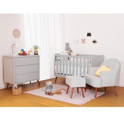 Quarto Infantil Theo Cinza Com Poltrona Capri