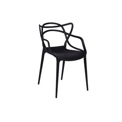 Conjunto-Mesa-Square-Redonda-Tampo-Branco-Fosco-Diametro-88cm-com-4-Cadeiras-Allegra-Preta