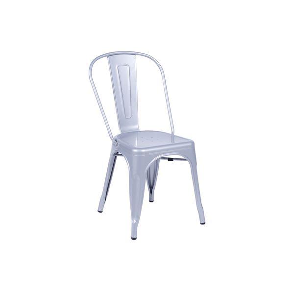 Conjunto Mesa Square Quadrada Tampo Branco Fosco 90x90 com 2 Cadeiras Tolix Cinza Metálico