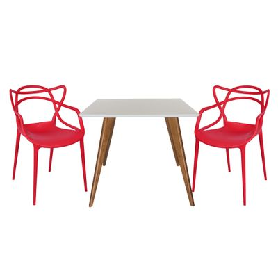 Conjunto Mesa Square Quadrada Tampo Branco Fosco 90x90 com 2 Cadeiras Allegra Vermelha