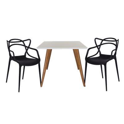 Conjunto-Mesa-Square-Quadrada-Tampo-Branco-Fosco-90x90-com-2-Cadeiras-Allegra-Preta