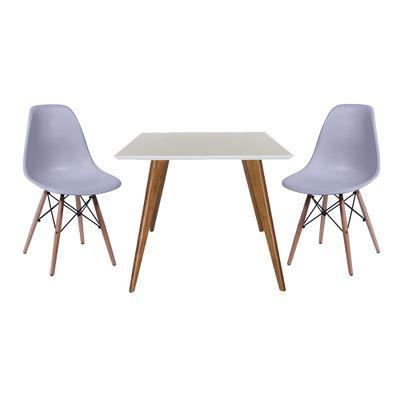 Conjunto Mesa Square Quadrada Tampo Branco Fosco 90x90 com 2 Cadeiras Eiffel Cinza Pés Madeira