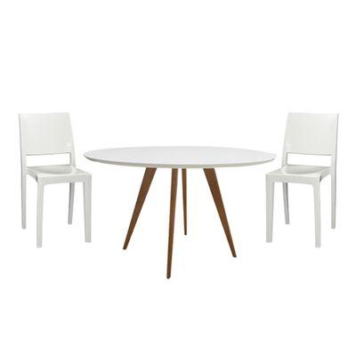 588c58857 Conjunto Mesa Square Redonda Tampo Branco Fosco 80cm com 2 Cadeiras Zeus  Plus Branca