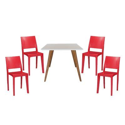 Conjunto-Mesa-Square-Quadrada-Tampo-Branco-Fosco-90x90---4Cadeiras-Zeus-Vermelho