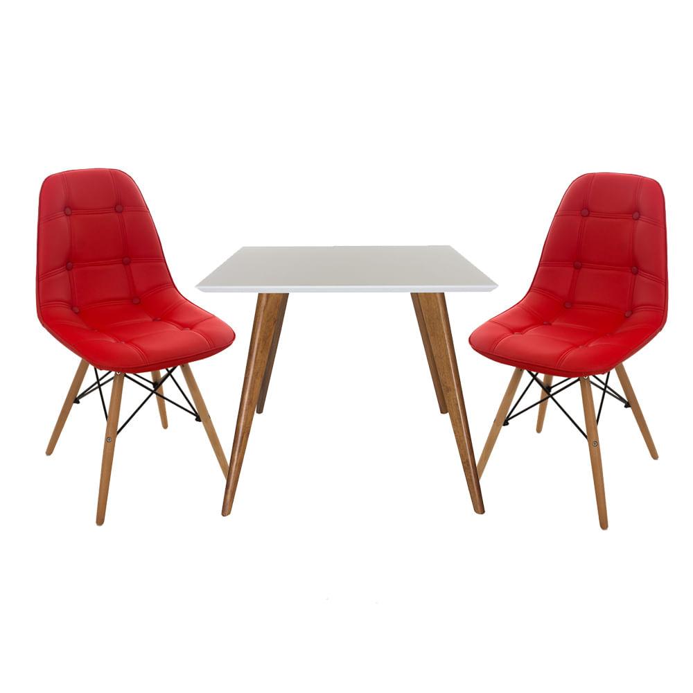 Conjunto-Mesa-Square-Quadrada-Tampo-Branco-Fosco-90x90-com-2-Cadeiras-Eiffel-Botone-Vermelha