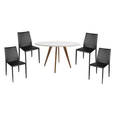 Conjunto Mesa Square Redonda Tampo Branco Fosco 88cm com 4 Cadeiras Noga Preto