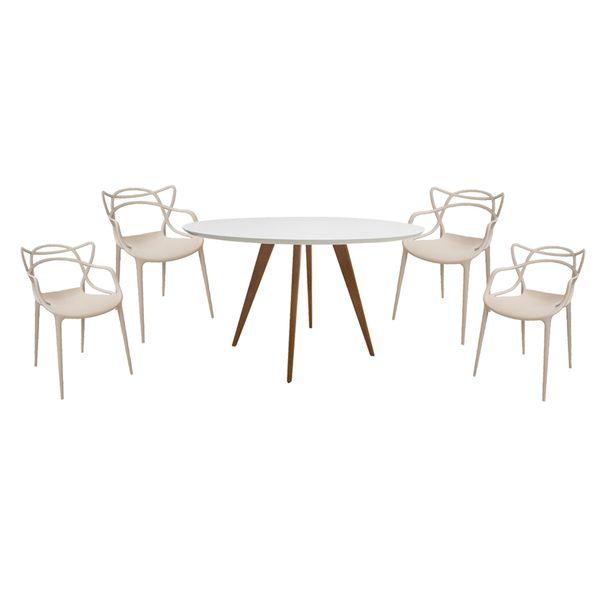 Conjunto-Mesa-Square-Redonda-Tampo-Branco-Fosco-88cm-com-4-Cadeiras-Allegra-Fendi