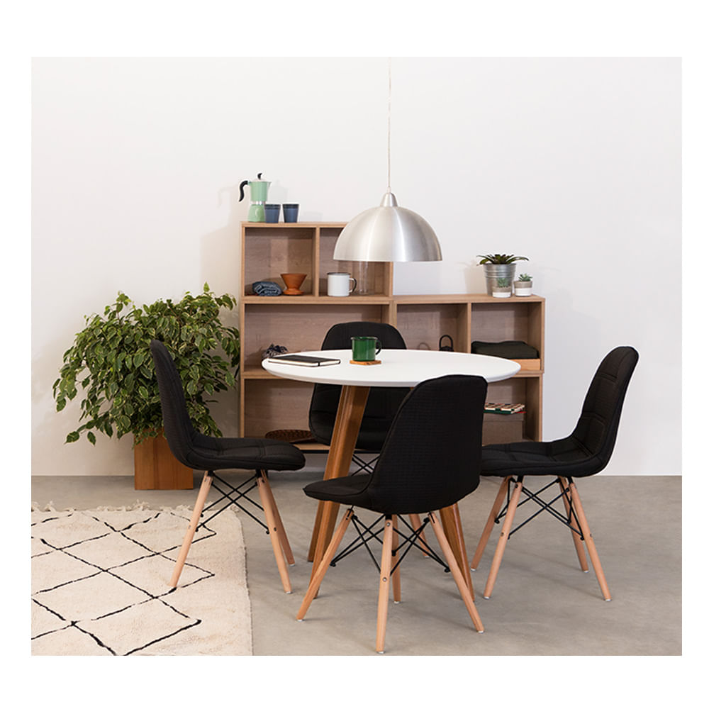 Conjunto Mesa Square Redonda Tampo Branco Fosco 80cm com 4 Cadeiras Eiffel Botonê Preta