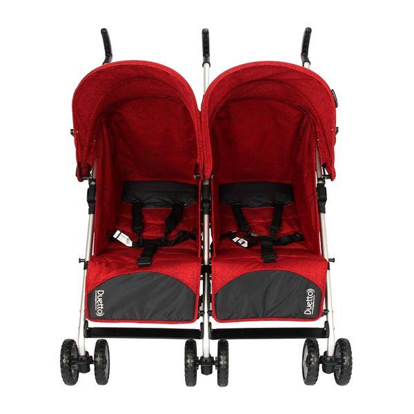 Carrinho de Bebê Gêmeos Burigotto Duetto Alumínio 4 Posições Atimo Lateral Cinza