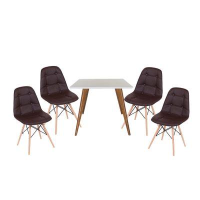 Conjunto Mesa Square Quadrada Tampo Branco Fosco 90x90 com 4 Cadeiras Eiffel Botonê Marrom