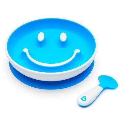 Prato-Smile-com-Ventosa-e-Colher-Azul