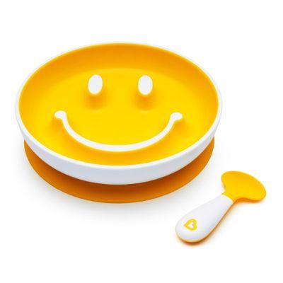 Prato-Smile-com-Ventosa-e-Colher-Amarelo