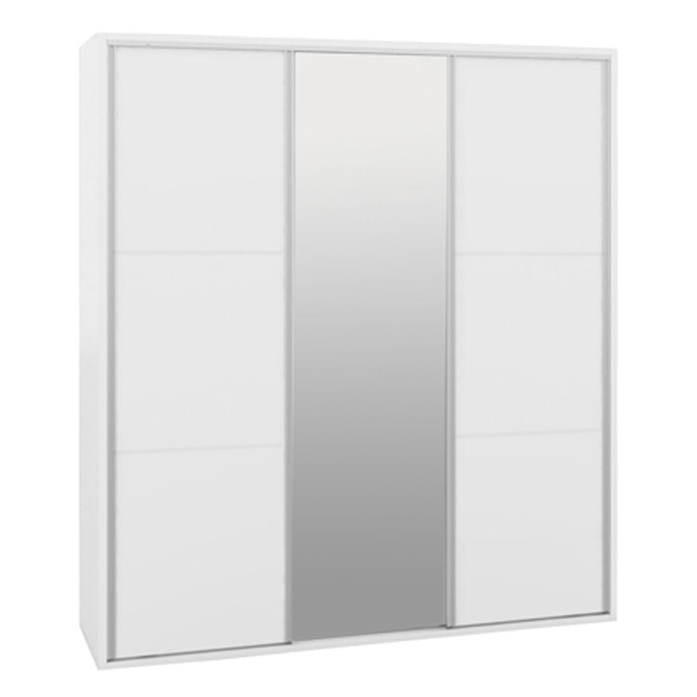 Armario-2-Portas-Deslizantes-Branco-Fosco-1-porta-espelho-6-Gavetas--Milano--208cm