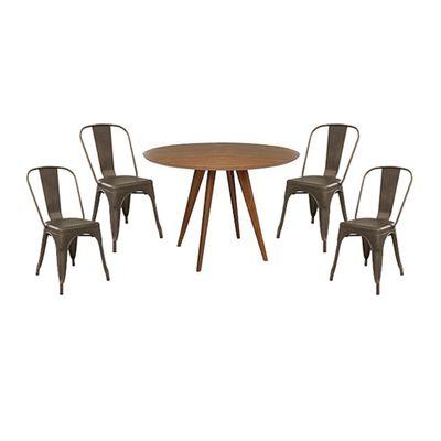conjunto-mesa-square-louro-freijo-80cm-com-4-cadeiras-tolix-vintage