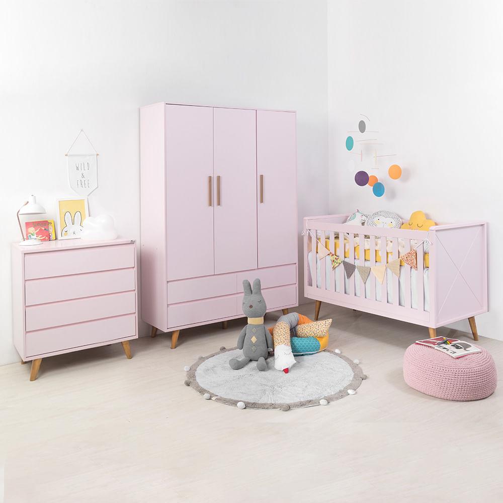 Kit-Quarto-Infantil-Retro-Rosa–Berco-Comoda-sem-porta-Armario