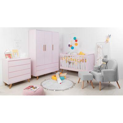 Kit-Quarto-Infantil-Retro-Rosa–Berco-Comoda-sem-porta-Armario-Poltrona-Capri-Cinza