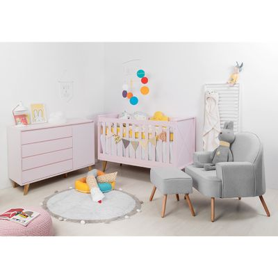 Kit-Quarto-Infantil-Retro-Rosa–Berco-Comoda-com-porta-Poltrona-Capri-Cinza