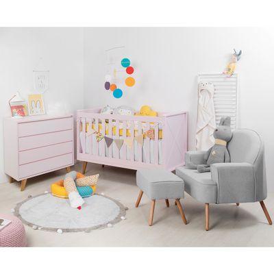 Kit-Quarto-Infantil-Retro-Rosa–Berco-Comoda-sem-porta-Poltrona-Capri-Cinza
